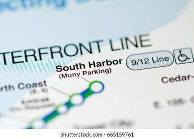 South Harbor Station. Cleveland Metro map.