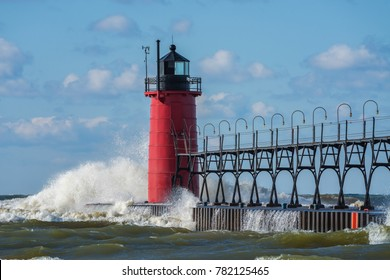 South Haven Lighthouse with waves