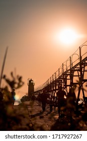 South Haven, MI /USA - September  16th 2017:  South Haven lighthouse and pier shot at sunset