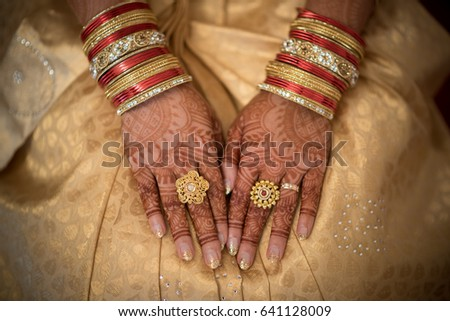 South Indian Brides Hands Rings On Stock Photo Edit Now 641128009