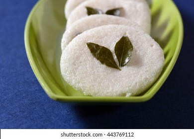 South indian cuisine vegetarian breakfast rava idli or idly in a plate.
