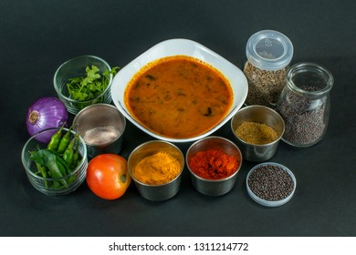 South Indian Drumstick gravy or South Indian Drumstick sambar with spice and vegetables