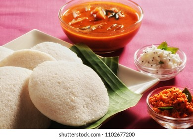 South Indian Food IDLI with sambar and coconut chutney (Red and green). Perfect breakfast :)
