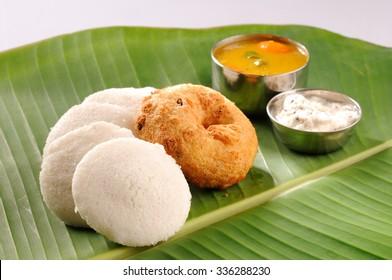 South indian food idli, wada with sambar and chutney