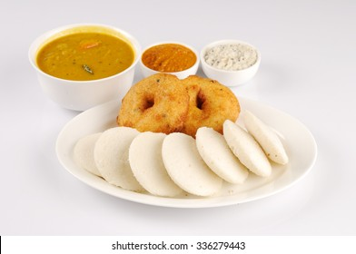 south Indian food idly ,wada with sambhar and chutnies - Shutterstock ID 336279443