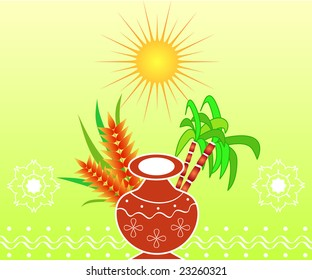 South Indian harvest festival Pongal design with pot, sugarcane and grains