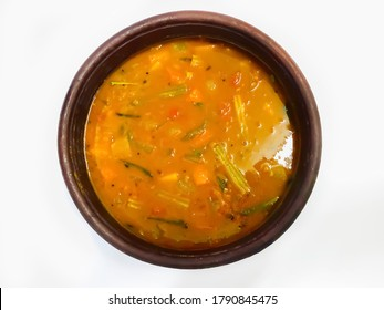 South Indian Kerala special vegetable curry Sambar cooked in clay pot