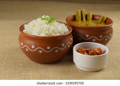South Indian rice sambar with banana leaf plate, Indian rice with drumstick curry