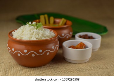 South Indian rice sambar, Indian rice with drumstick curry, Indian traditional food