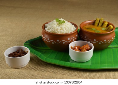South Indian rice sambar or Indian rice with drumstick curry