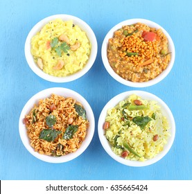 South Indian traditional and popular vegetarian rice dishes pongal, bisi bele bath, lemon rice and puliyogare.