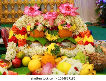 South Indian Wedding tradition with flower garlands and wedding bride and groom