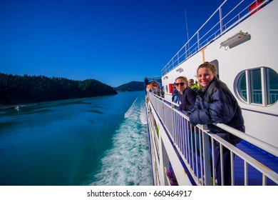 SOUTH ISLAND, NEW ZEALAND- MAY 25, 2017: Unidentified people enjoying the beautiful view from South island to North island at ferry in New Zealand
