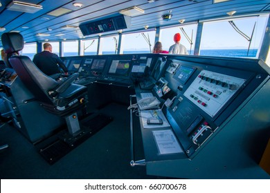 SOUTH ISLAND, NEW ZEALAND- MAY 25, 2017: Ferry boat pilot command cabin with view on the sea