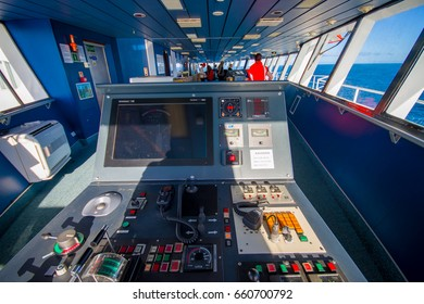 SOUTH ISLAND, NEW ZEALAND- MAY 25, 2017: Ferry boat pilot command cabin with view on the sea, in new zealand