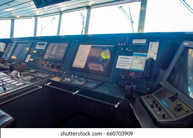SOUTH ISLAND, NEW ZEALAND- MAY 25, 2017: Interesting Ferry boat pilot command cabin, in new zealand