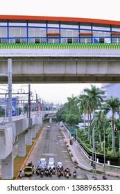 South Jakarta / Indonesia - April 21 2019: Jl. Sungai Sambas VI Transjakarta bus station overpass from Blok M Jakarta MRT station