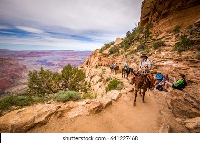 SOUTH KAIBAB TRAIL, SOUTH RIM VIEWPOINTS, GRAND CANYON, ARIZONA, UNITED STATES - MAY 27, 2015: A group of tourists are riding horses on the canyon.
