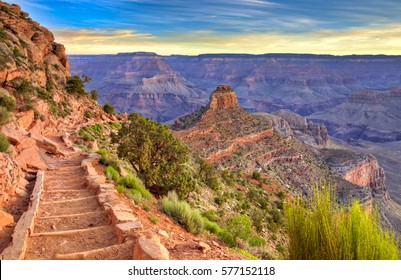South Kaibab Trail at sunrise, in Grand Canyon.