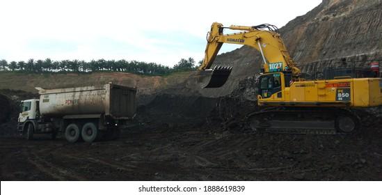 South Kalimantan - Indonesia. December 20, 2018. mining activities, coal getting, hauling and loading at a coal mining company in PT. Kalimantan Prima Persada.