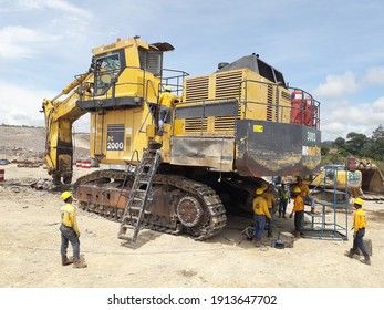 South Kalimantan - Indonesia. December 4, 2020. mining activities, coal getting, hauling and loading at a coal mining Project