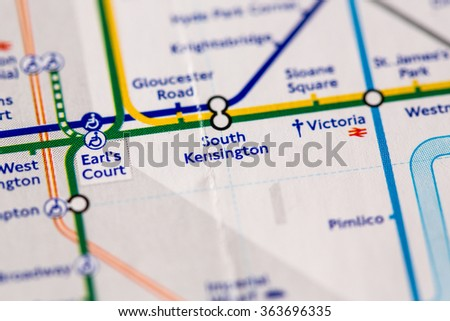 South Kensington London Map.South Kensington Station On Map Piccadilly Stock Photo Edit Now