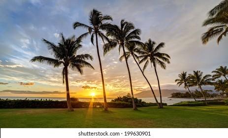 South Kihei sunset on the island of Maui, Hawaii