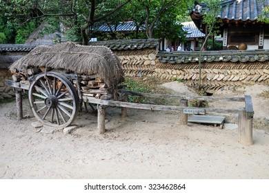 South Korea 27-September 2015. SUWON : Korean Folk Village,Traditional Korean style architecture and Tourists in Korean Folk Village.