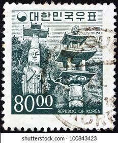 SOUTH KOREA - CIRCA 1966: A stamp printed in South Korea shows Unjinmiruk Buddha statue, Kwanchok Temple, circa 1966.