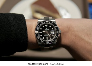 South Korea - December 15 2019: Rolex GMT Master II Green Hand on Wrist