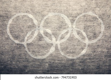 South Korea -February 9, 2018: Closeup of Winter Olmypic symbol rings on the background