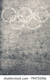 South Korea -February 9, 2018: Light background with winter games Olympic symbol rings