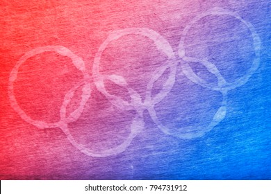 South Korea -February 9, 2018: South Korean flag colours Winter Olympic symbol rings