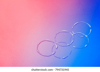 South Korea -February 9, 2018: Colorful as South Korean flag Winter Olympic symbol rings on the background