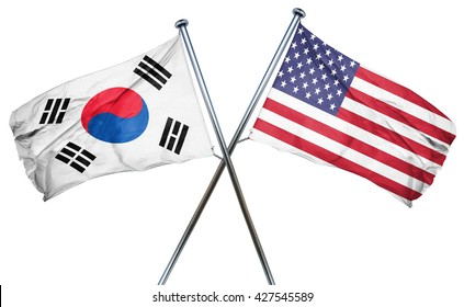 South korea flag with american flag, isolated on white backgroun