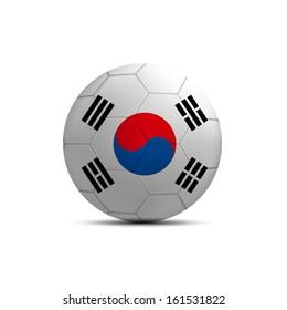 South Korea flag ball isolated on white background