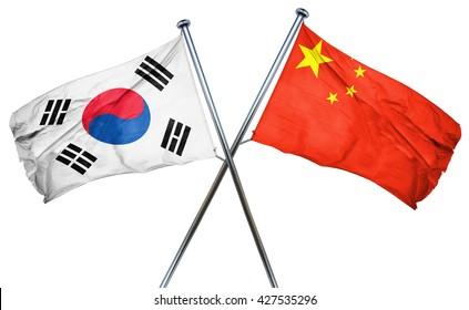 South korea flag  combined with china flag