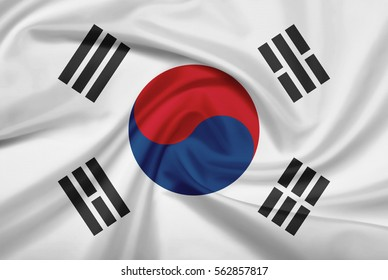 South Korea flag with fabric texture. 3D illustration.