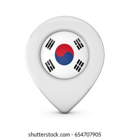 South Korea flag location marker icon. 3D Rendering