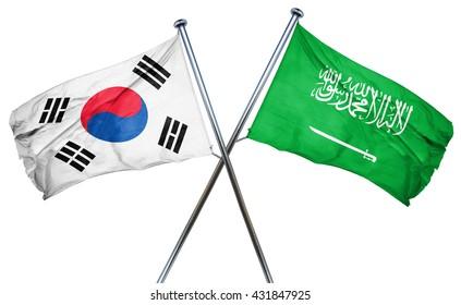 South korea flag with Saudi Arabia flag, 3D rendering