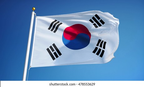 South Korea flag waving against clean blue sky, close up, isolated with clipping path mask alpha channel transparency
