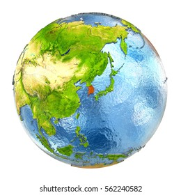 South Korea highlighted in red on Earth. 3D illustration with highly detailed realistic planet surface isolated on white background. Elements of this image furnished by NASA.