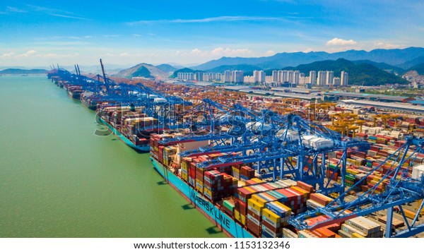 South Korea - July 2018 : Aerial view of Busan new port of South Korea. Container ship in import export and business logistic in Busan new port.