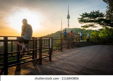 South Korea - June 19 2018 :Twilight Seoul Tower in summer at south korea.