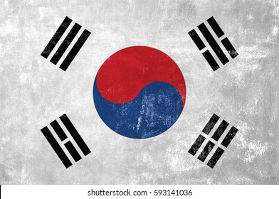 South Korea - Korean Flag on Old Grunge Texture Background