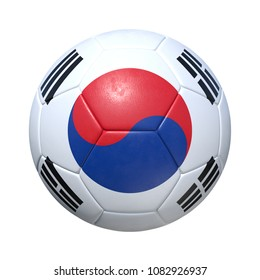 South Korea South Korean soccer ball with national flag. Isolated on white background. 3D Rendering, Illustration.