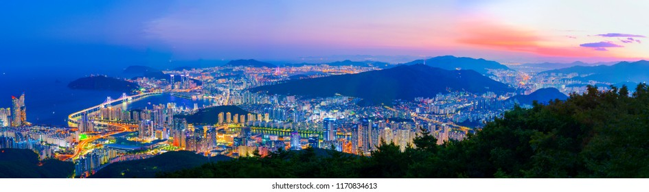 South Korea  landscapes. at Busan City and Downtown skyline in Busan, South Korea.South Korea cityscapes