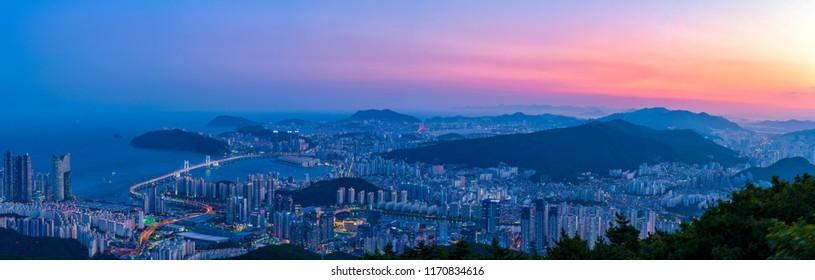 South Korea  landscapes. at Busan City and Downtown skyline in Busan, South Korea.South Korea cityscapes