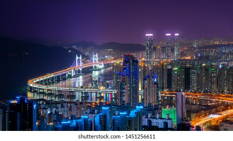 South Korea landscapes at Gwangalli Beach an Busan Gwangandaegyo Bridge and Haeundae Beach in Busan City South Korea