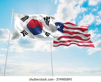 South Korea & Liberia Flags are waving in the sky